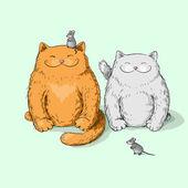 Full katter — Stockvektor