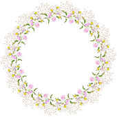 Wreath of wildflowers — Stock Vector