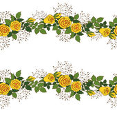 Wreath of yellow roses — Stock Vector