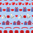 Valentine pattern on blue — Vettoriale Stock