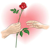 Hand with rose — Stock Vector