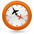 Clock with plane arrow — Stock Vector