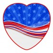 Stock Vector: American flag - heart shape design