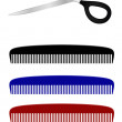 Scissors and comb — Stock Vector