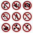 Forbidden sign set — Stock Vector