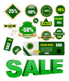 Vector green sale labels set — Stockvektor