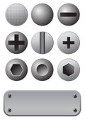 Bolts and screws set — Stock Vector