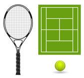 ベクトル テニス ラケット ボールとフィールド — ストックベクタ
