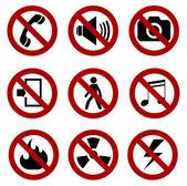 Forbidden sign set — Stock Vector