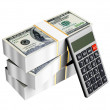 Us dollars money with calculator isolated — Stock Photo