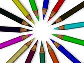 Colored pencils in circle isolated on white — Stock Photo