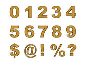 Set of gold numbers and symbols isolated on white — Stock Photo