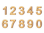 Set of golden numbers isolated on white — Stock Photo