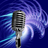 Retro microphone on abstract background — Stock Photo