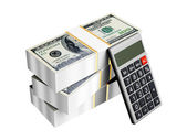 Us dollars money with calculator isolated — Stock Photo