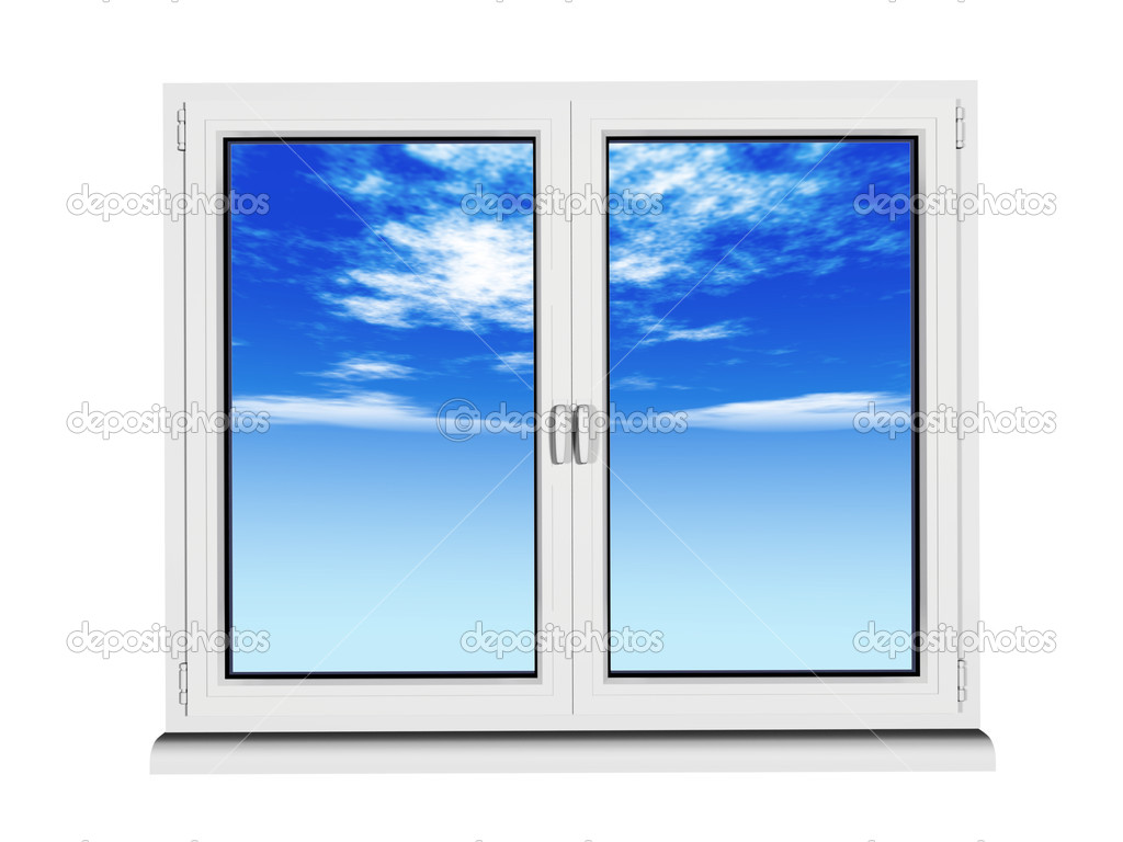 Closed Window Frame : Two layers and frame closed plastic window with blue