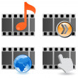 Film strip 3d movie icon — Stock Vector