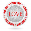 Stock Vector: I love you tagcloud emblem