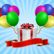Vector de stock : Gift box with balloon - holiday concept