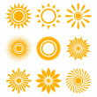 Sun icon set — Stock Vector