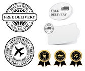 Free shipping labels and banners — Vettoriale Stock