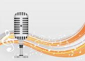 Sfondo astratto musica retrò microfono — Vettoriale Stock
