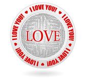 I love you tagcloud emblem — Stock Vector