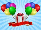 Geschenkdoos met ballon - concept vakantie — Stockvector