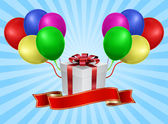 Scatola regalo con palloncino - concetto di vacanza — Vettoriale Stock