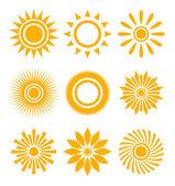 Sun icon set — Stock Vector