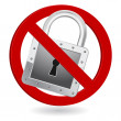 Padlock forbidden sign icon — Stock Vector