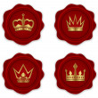 Wax seal with king crown vector icon — Stock Vector