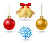 Christmas bell, ball and snowflake - icon set — Stock Vector