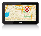 Gps device icon with map — Wektor stockowy