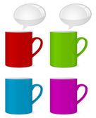 Icono de la taza de color con burbuja de discurso — Vector de stock