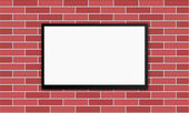 Flat modern plasm tv on brick wall — Stock Vector