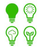 Ampul simgesi - yeşil kavramı — Stok Vektör