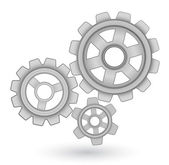 Gears vector icon - abstract background concept — Stock Vector