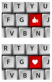Keyboard with heart and thumbs up button — Stock Vector