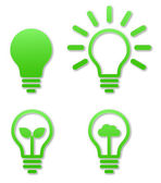 Ampul simgesi yeşil etiket — Stok Vektör