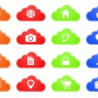 Computing cloud button icon set — Stock Vector