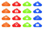 Computing cloud button icon set — Vector de stock