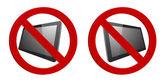 Digital tablet computer 3d forbidden sign — Stock Vector
