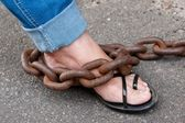 Chained Foot — Stock Photo