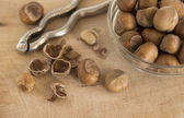 Hazelnuts with nutcracker on the wooden board — Stock Photo