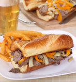 Roast Beef Sandwich and Fries — Stock Photo