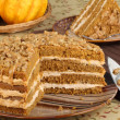 Foto Stock: Sliced Pumpkin Layer Cake