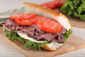Roast Beef on French Bread — Stock Photo