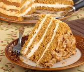 Slice of Pumpkin Layer Cake — Stock Photo