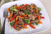 Beef Stir Fry on Rice — Stock Photo